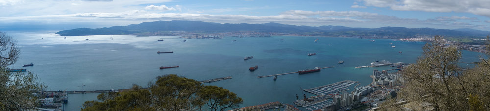 Stunning views of Gibraltar and the Spanish coastline can be seen from the top of the Rock of Gibraltar.