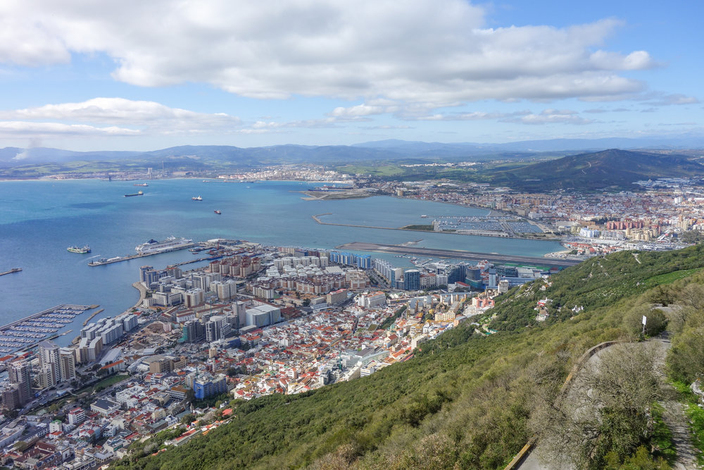 Views of Gibraltar port from the Rock of Gibraltar.