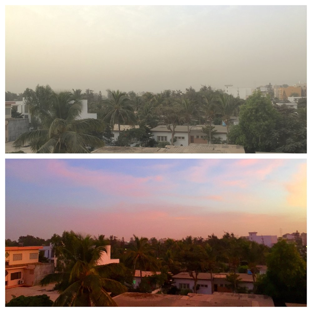 With the shifting seasons, Dakar's skies can be clear with stunning sunsets, or filled with particles from dust storms.