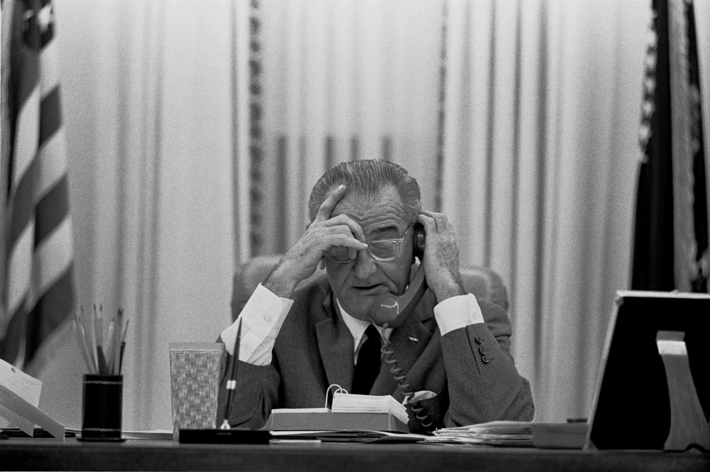 LBJ working hard from the Oval Office.