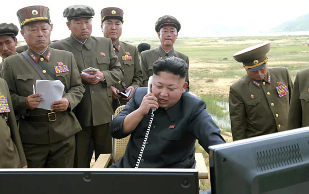 Kim Jong-un in field guiding a hydrogen bomb test.