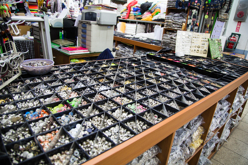 Much of the shopping complex had wholesale floors where you could buy stuff in bulk. There a floor literally just dedicated to buttons. lots and lots of buttons.