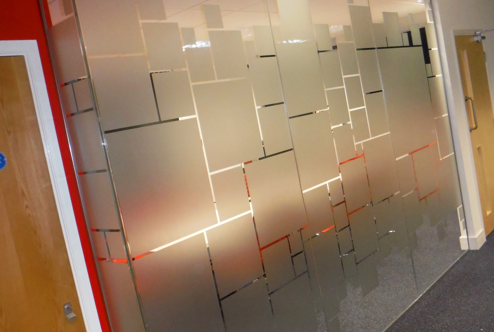 Full block etched glass with design