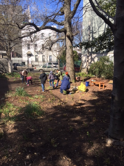Students from PS 34 planting during a sunny trip to the garden