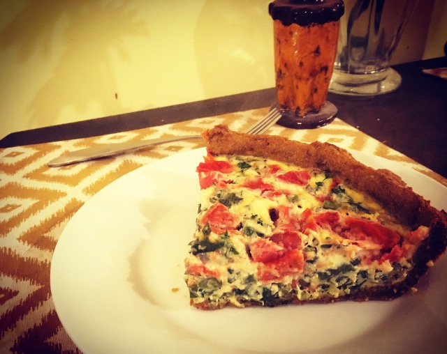 Slice of Veggie Quiche with Sweet Potato Crust
