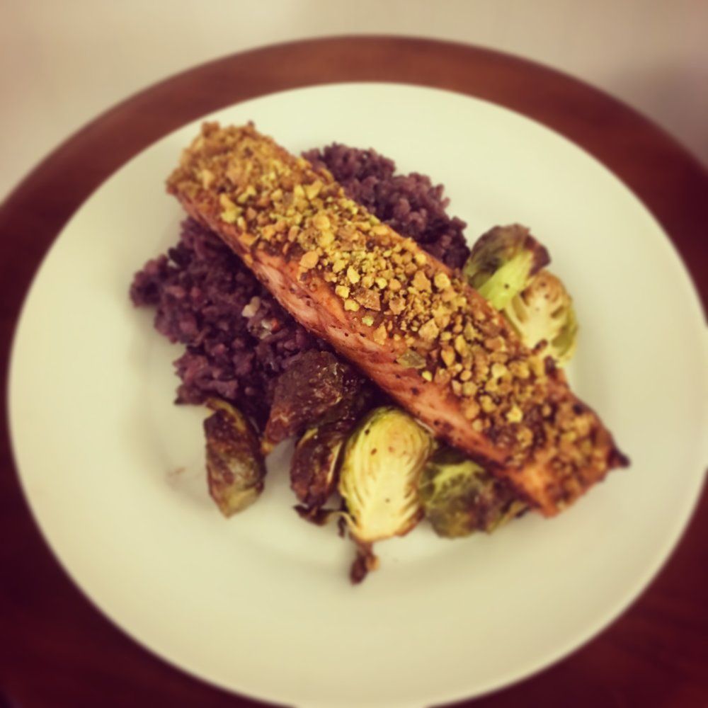 Tamarind Glazed Pistachio Crusted Salmon with Coconut Rice & Brussels