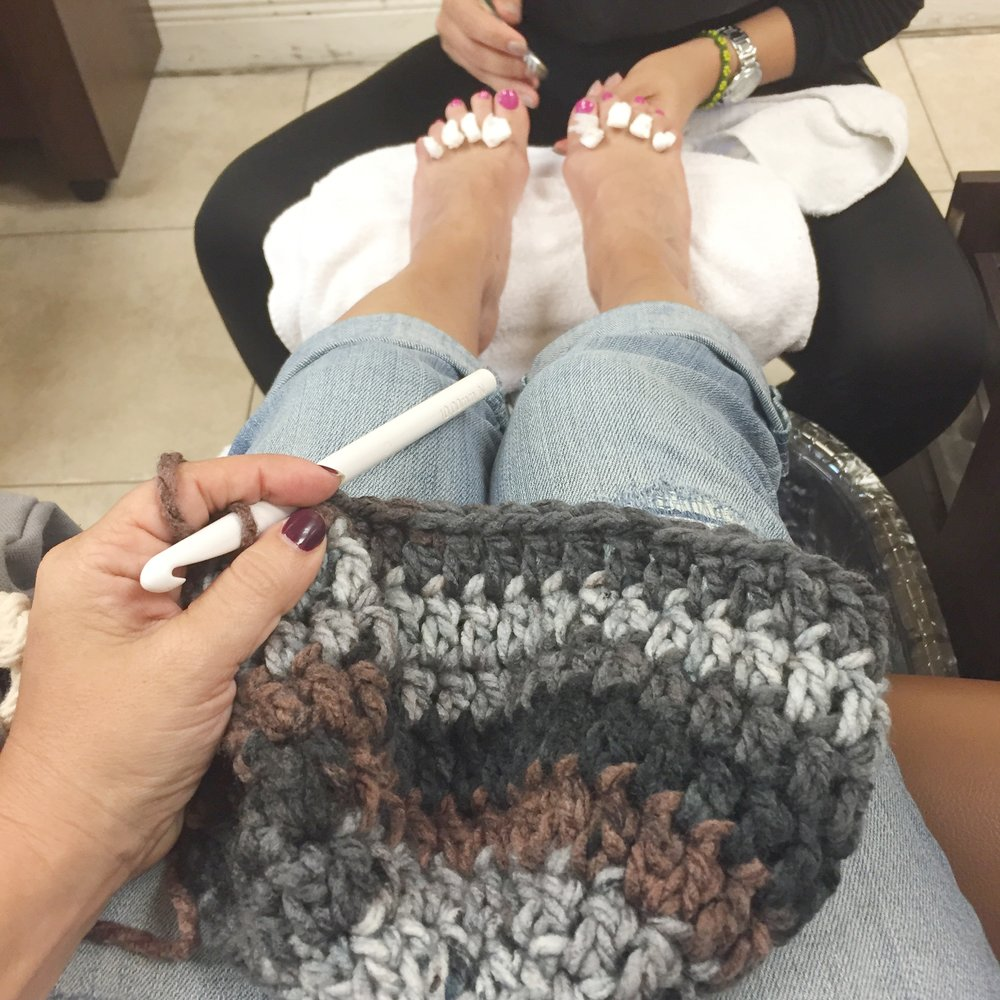 Hooking while pampering