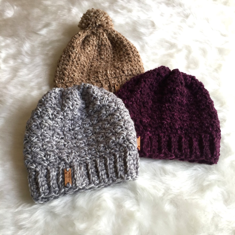 The Chunky Everest ,  Amherst  &  Capeside  Beanies- all designed for Wool Ease Tonal