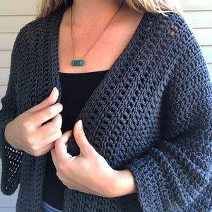 Newport Kimono Sleeve Cardigan Crochet Pattern Stitch Hustle