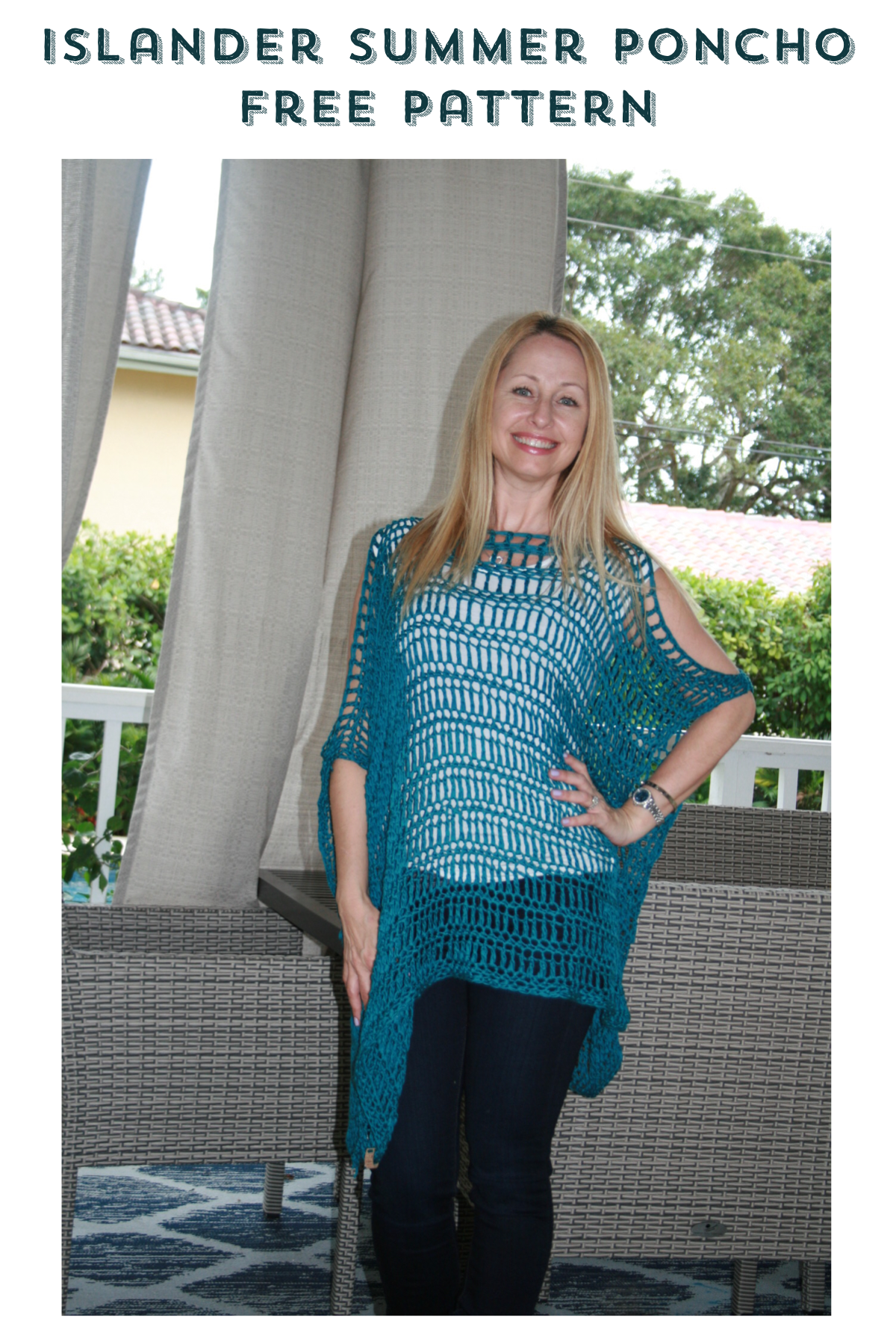 Islander Summer Poncho Cover Up Free Crochet Pattern Stitch Hustle