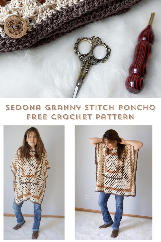 Sedona Granny Stitch Poncho Free Crochet Pattern Stitch Hustle