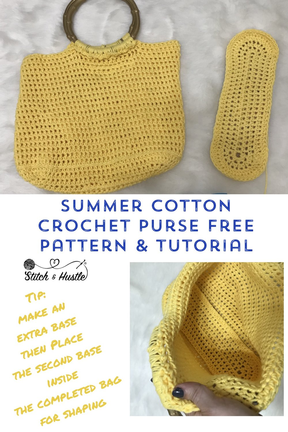 Mini Tote Bag Free Crochet Pattern Stitch Hustle