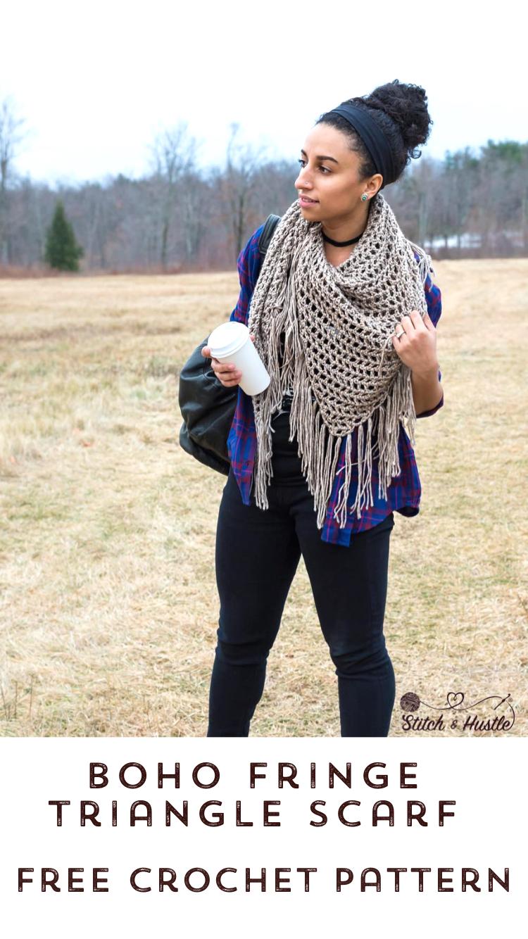 Boho Triangle Shawl Free Crochet Pattern Stitch Hustle