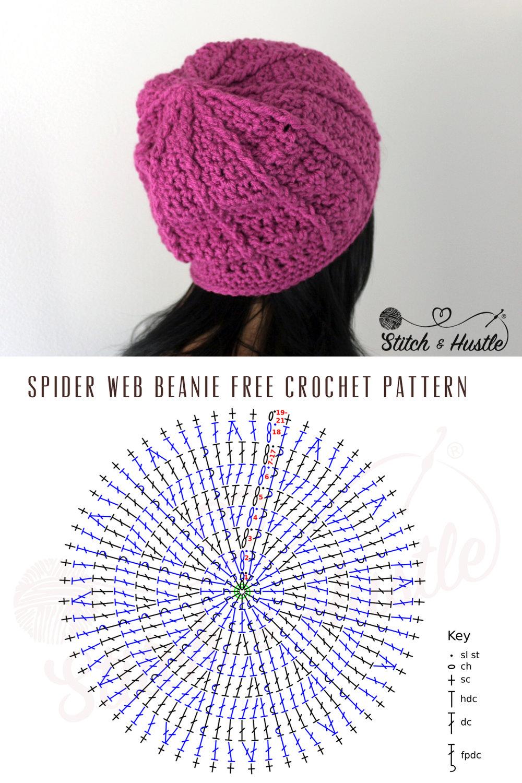 Spider Web Beanie Free Crochet Pattern — Stitch & Hustle