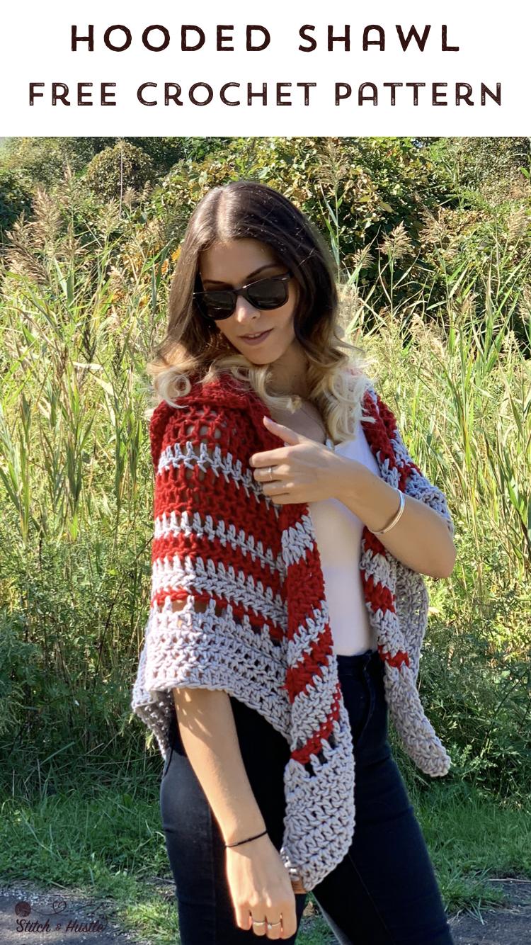 Woodward Hooded Shawl Free Crochet Pattern Stitch Hustle