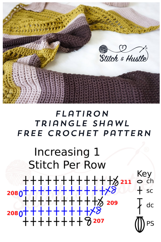 Flatiron Asymmetrical Triangle Shawl Free Crochet Pattern Stitch
