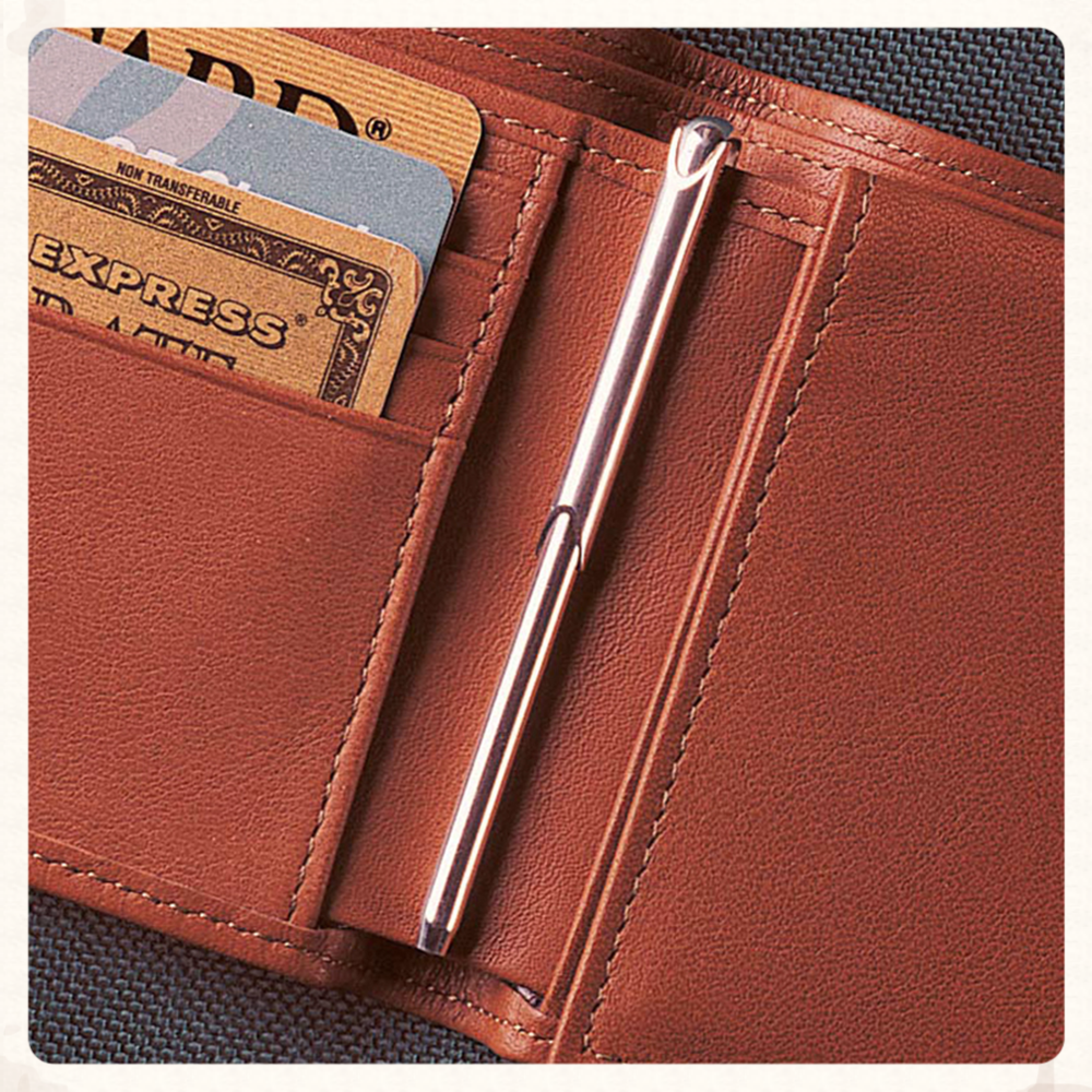 wallet pen in brown leather wallet