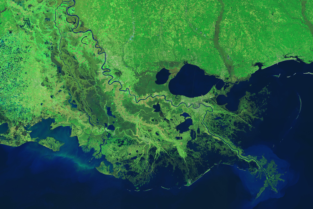 Aerial map of south Louisiana.