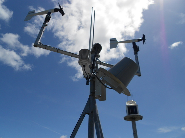 Close up of instruments on NOAA Weather Station
