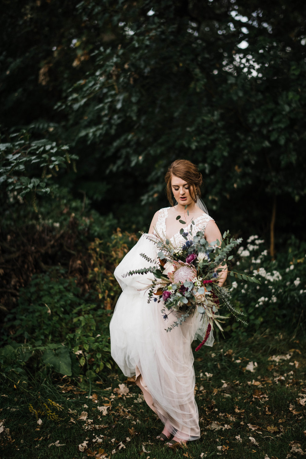 Romantic Wedding Bouquet and Bride Portrait