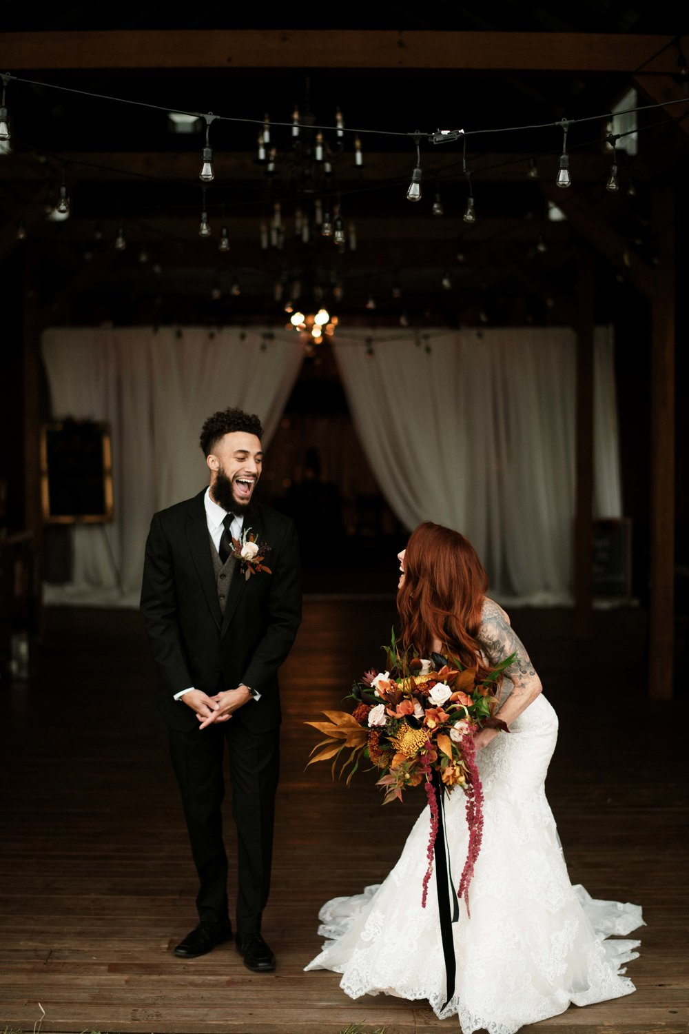 Laughing Bride and Groom Fall Wedding Rich Colors