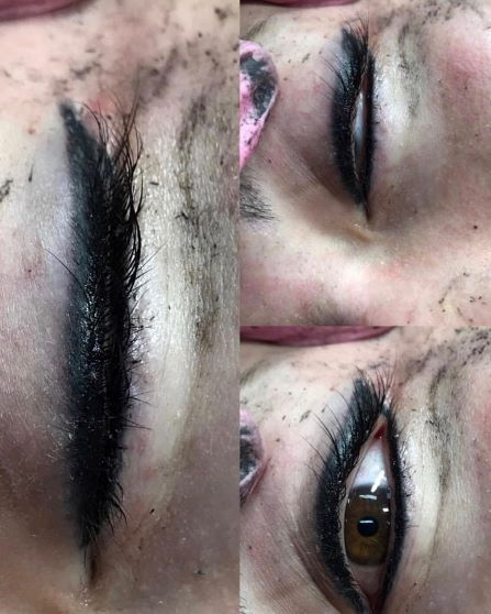 Immediately after - Eyeliner Tattooing with small wing