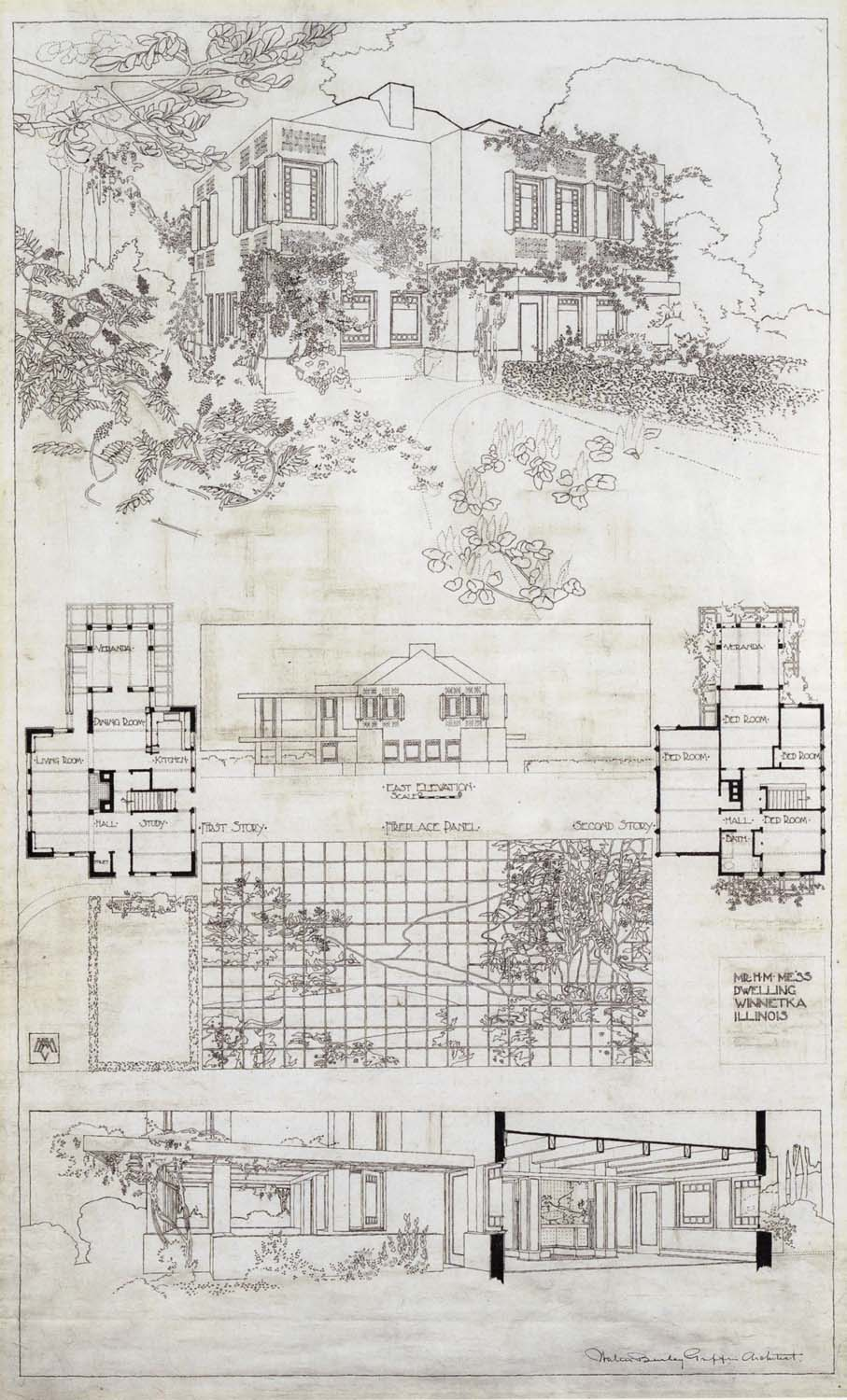 H.M. Mess Dwelling, Winnetka IL,  W.B. Griffin Architect, 1912