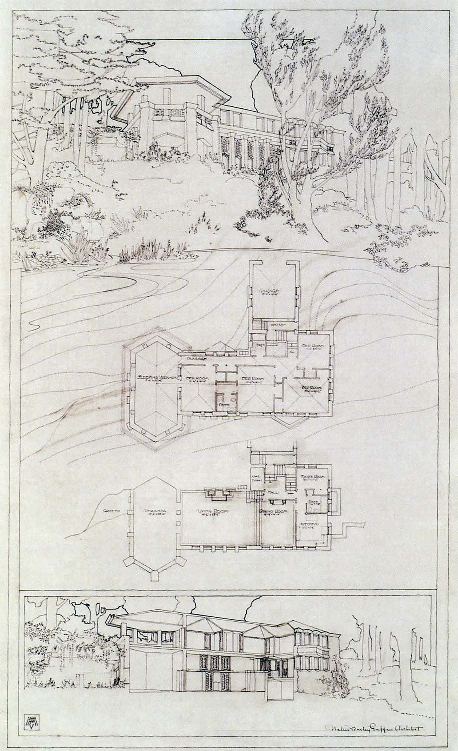 William J. Holahan Dwelling, Mason City IA,  W.B. Griffin Architect, 1912 (never built)