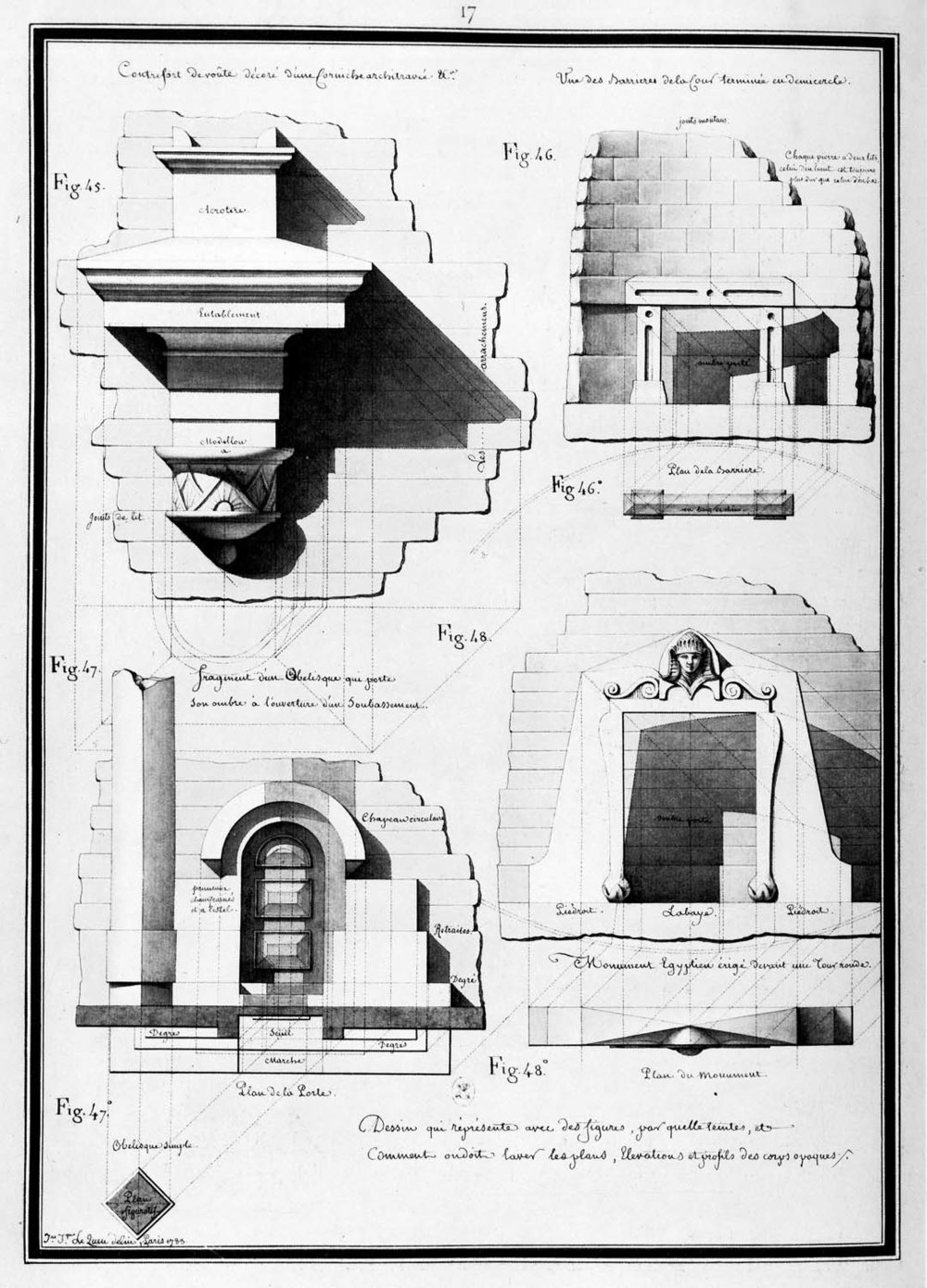 Abutment of vault with ornamented cornice, obelisk, Egyptian monument…  (1783)