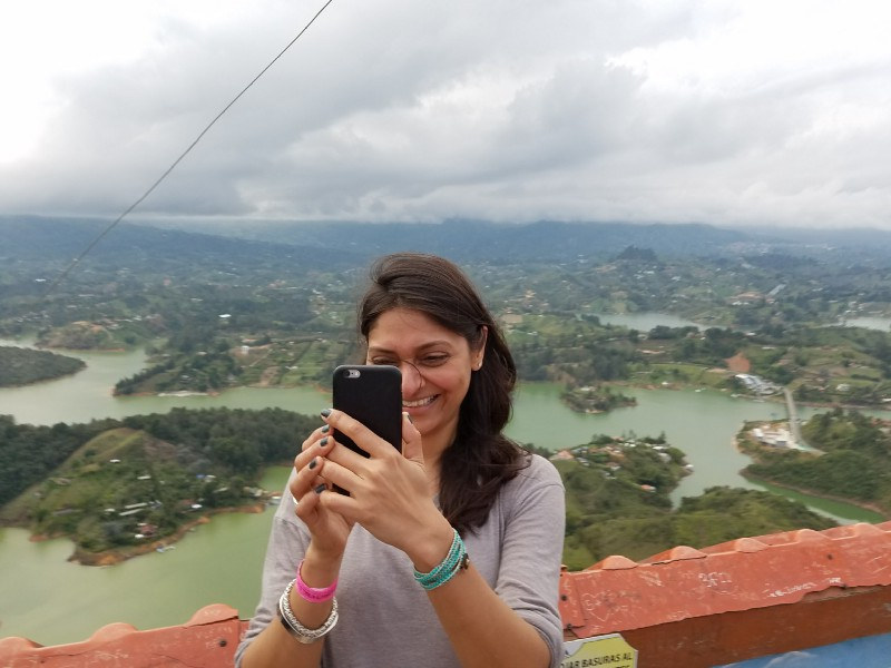Photo taking of photo taking o  n top of the tower in Guatapé. (This happened a few times)