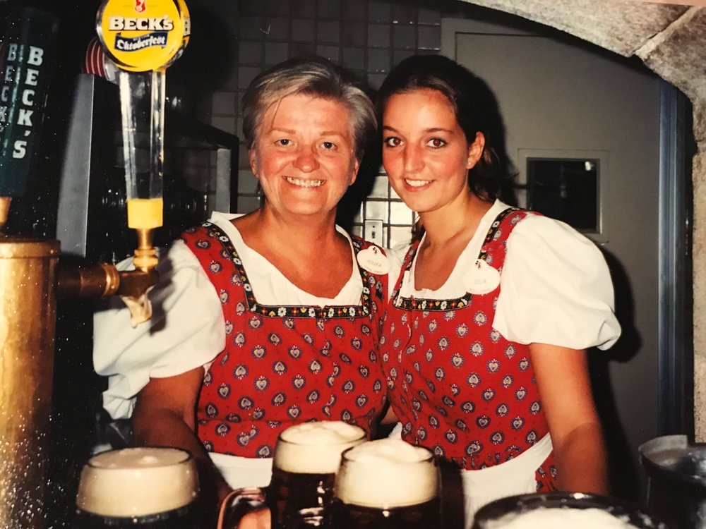 Julia (right) in her finest German threads