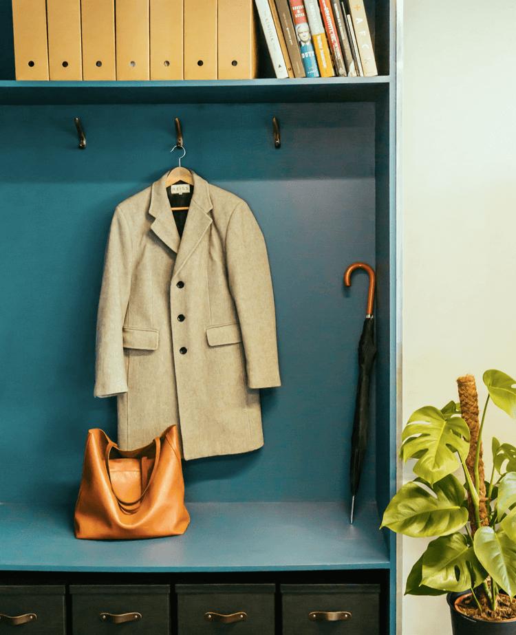 Designer office coat rack and storage