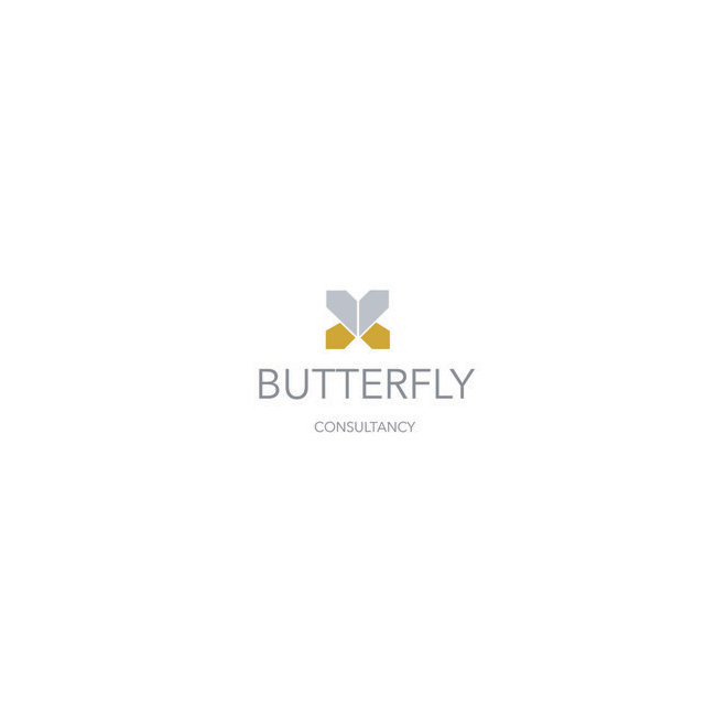 Butterfly logo on white background