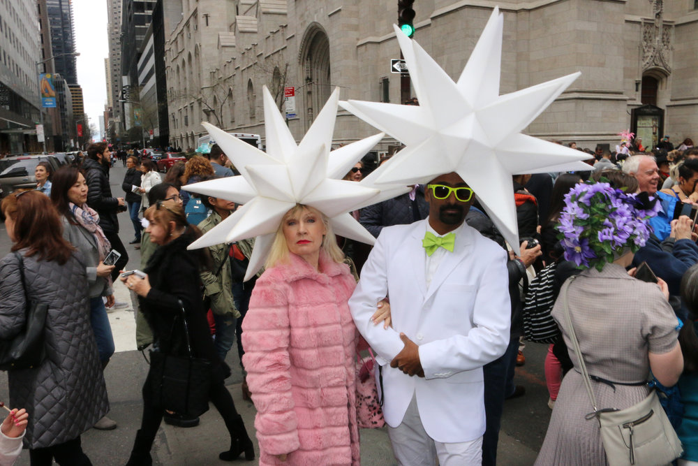 Lucille Khornak poses with a crowdsourced headpiece for the 2018 Easter Parade in New York City.