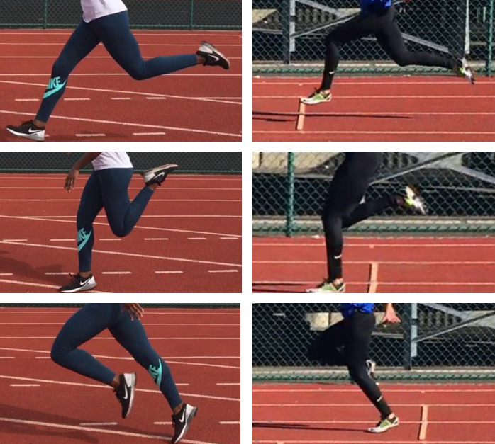 Examples of Plantarflexion while sprinting