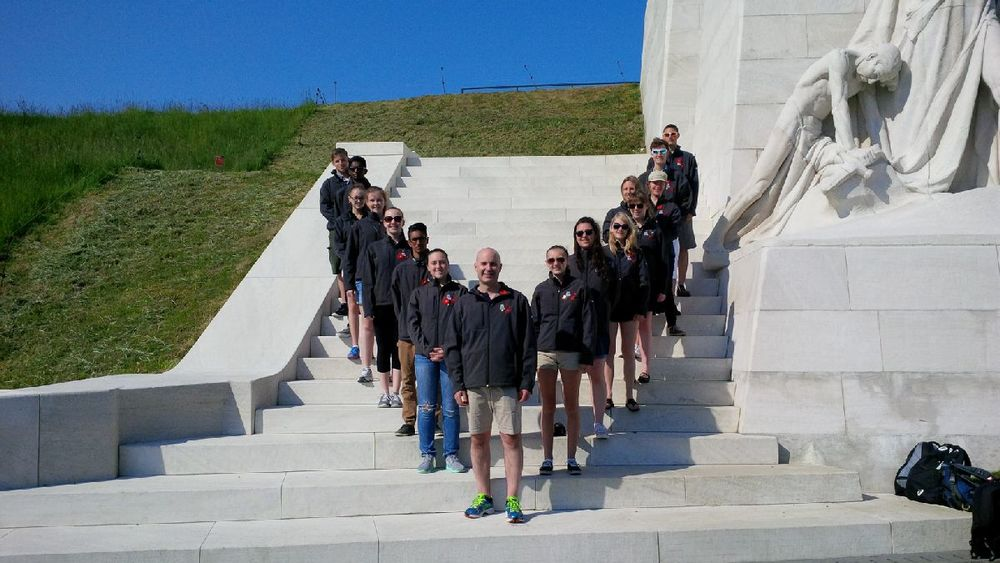 Digital Historians on the Vimy Monument. In the centre is Cpl. Bill Power, a veteran of Cyprus and Bosnia who accompanied us on our trip.