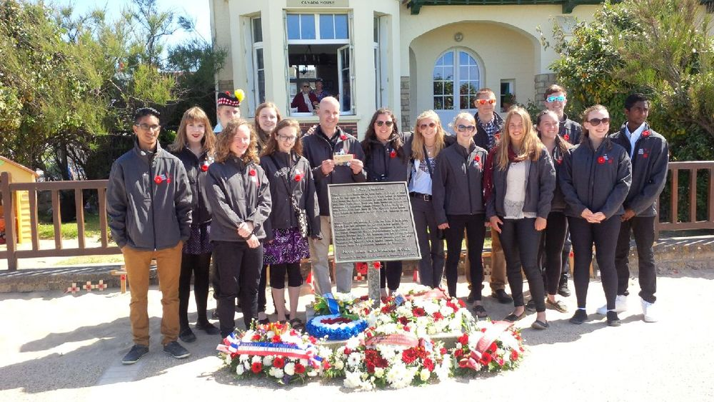 DHP students outside Canada House - one of the first buildings to be liberated on D Day