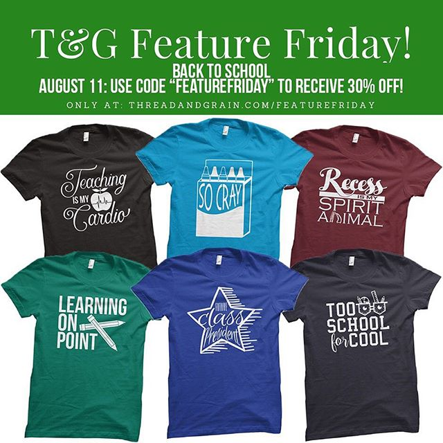 "Is anyone gearing up for ""Back to School"" like we are around here?  Today's Feature Friday is all about helping you get more excited for the new school year!  All SIX of these designs are available at a 30% discount with the code ""FEATUREFRIDAY"". And they all are ready to DIY or BUY -- grab them as digital cut files, iron-on transfers or finished tees! 🍎✏️ Find them only at: http://threadandgrain.com/featurefriday . . . #threadandgrain #backtoschool #schoolshirts #teachershirt #teachertees #svg #silhouettecameo #svgfiles #cricut #vector #silhouette #silhouettestudio #dxf #silhouetteportrait #silhouettecameo3 #cutfiles #cricutexplore #vectorart #tgfeaturefriday #cricutmaker #createwithcricut"