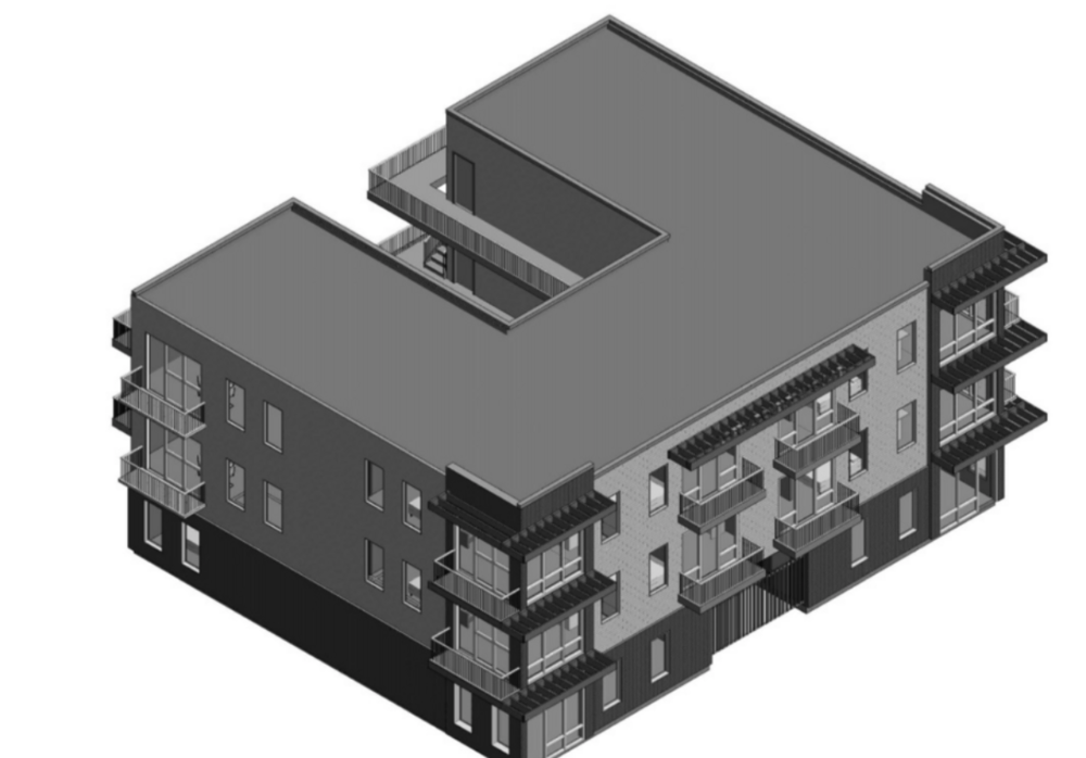 A conceptual rendering of the Diana Street Apartments being proposed by PMT investments LLC. The apartments are designed by Memphis-based architecture firm Arch Inc.