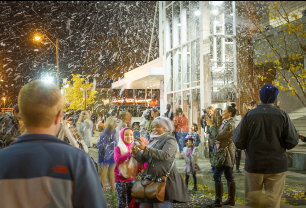 Snow at the Overton Square LeBonheur Christmas Tree Lighting