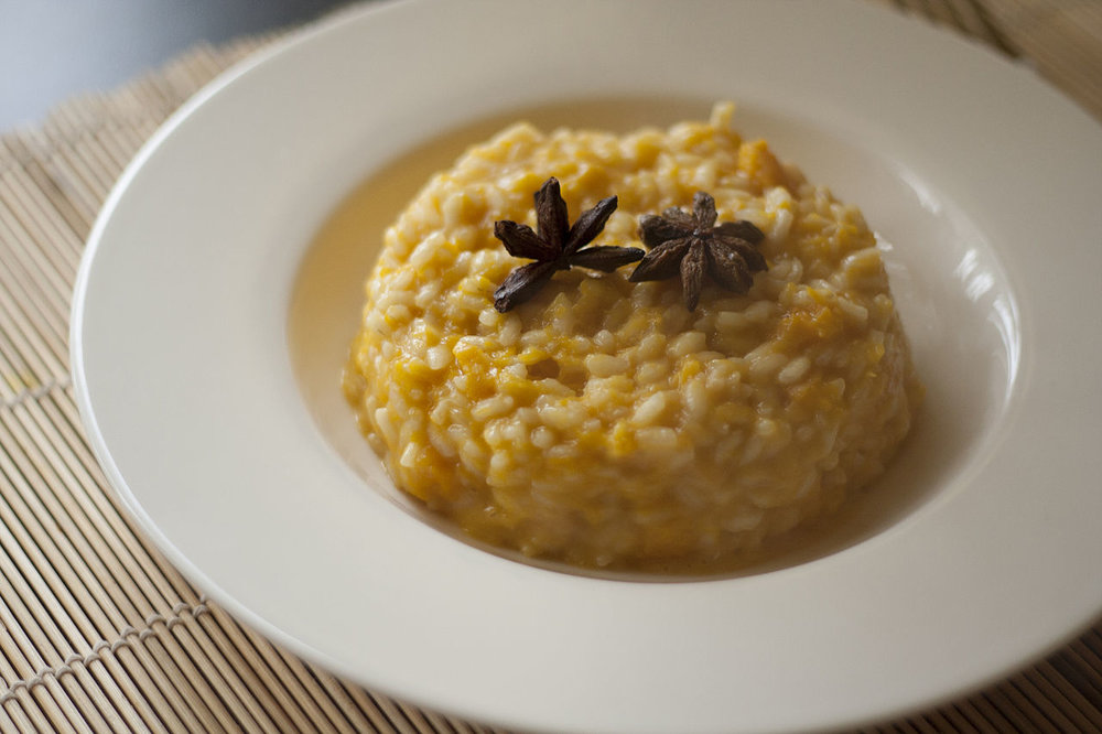 Risotto alla zucca-Made with pumpkin, nutmeg, and grated cheese
