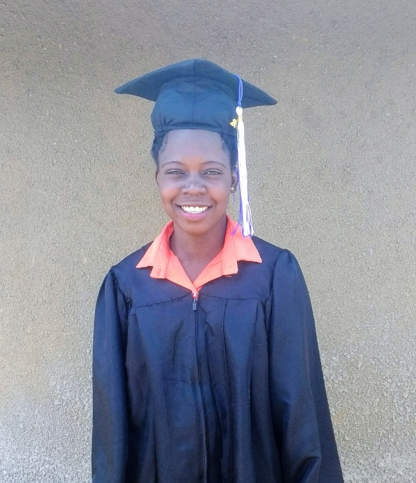 Gladys, Class 8, graduated with a certificate in Catering/Bakery and Salon, from the Lukome Center, Lukodi, Uganda