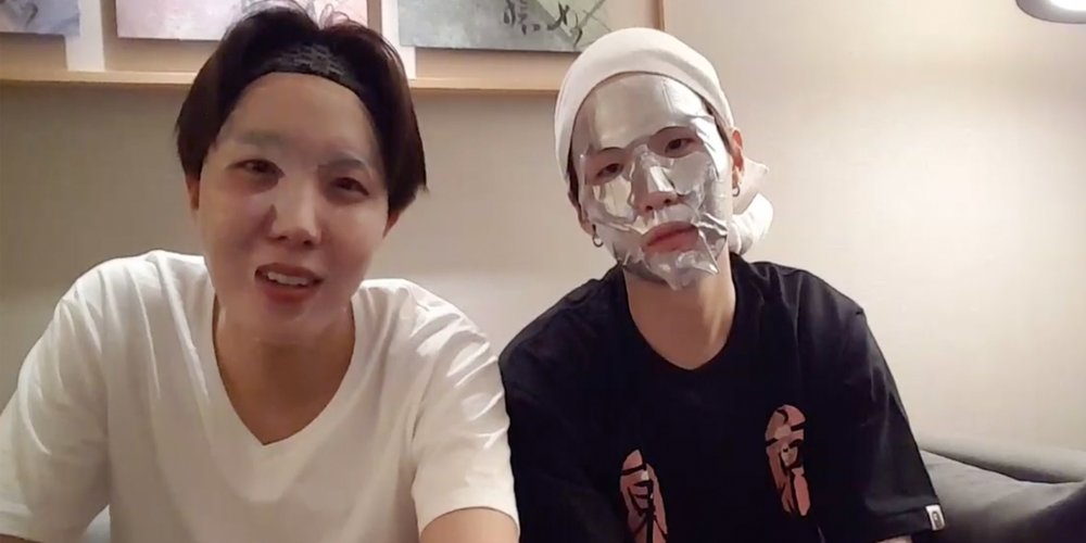 J-Hope and Suga from BTS using MediHeal sheet masks on a V LIVE broadcast in June. (Source: V LIVE)