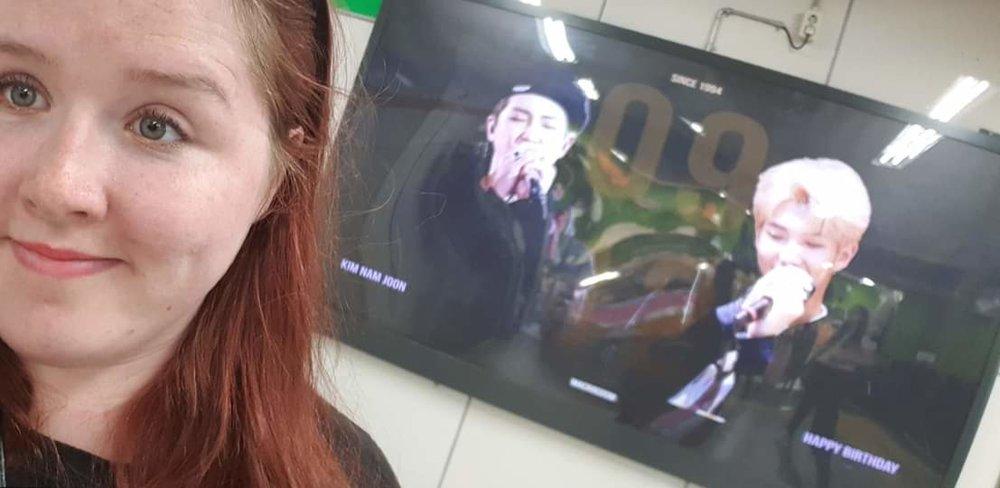 Me posing with RM in Hongdae Station
