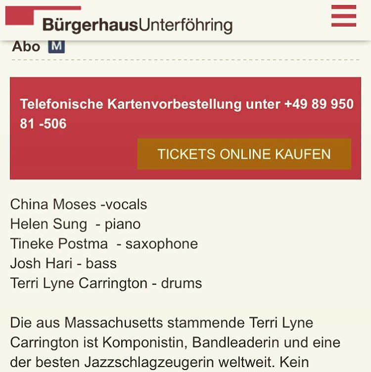 Singing with the incredible kick ass (pardon my French) #TerriLyneCarrington this Saturday in #unterföhring #germany 🎤 And her band???? Well 🙌🏾🤘🏽💥 #HelenSung #TinekePostma #JoshHari