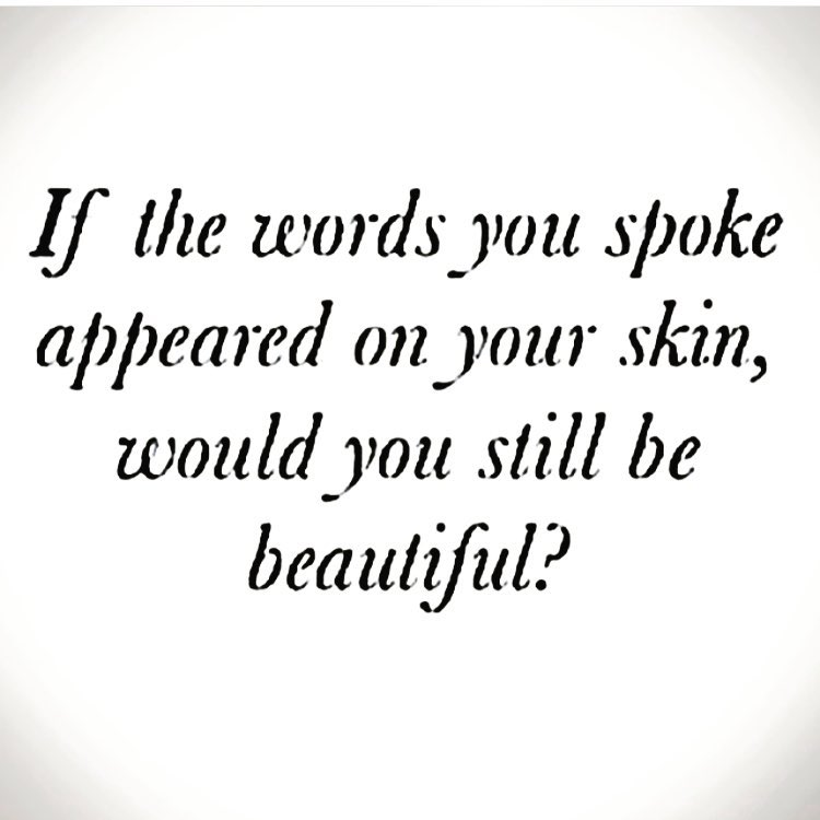 If the words you spoke appeared on your skin…