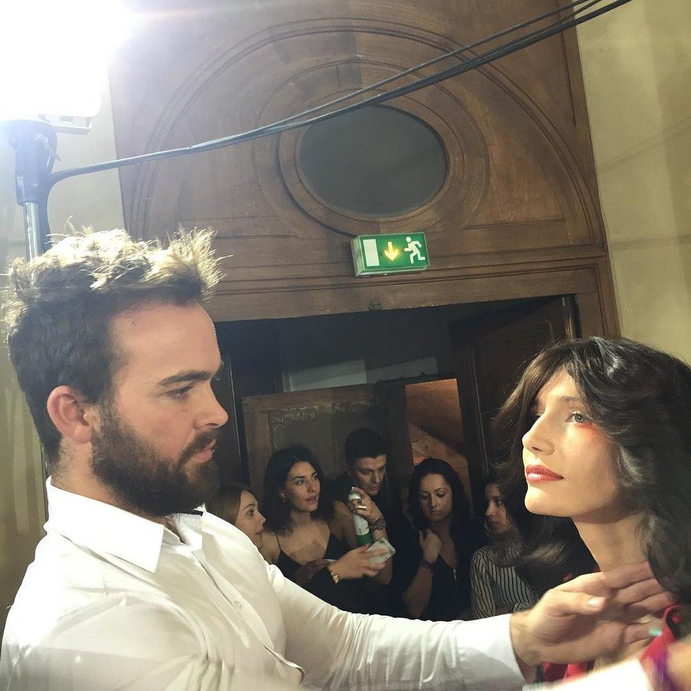 @reecewalkerhair X @maria_zubtsova #bighairdontcare @julienfournie #firstparadise #pfw16 #summer #backstage  (à L'Oratoire du Louvre)