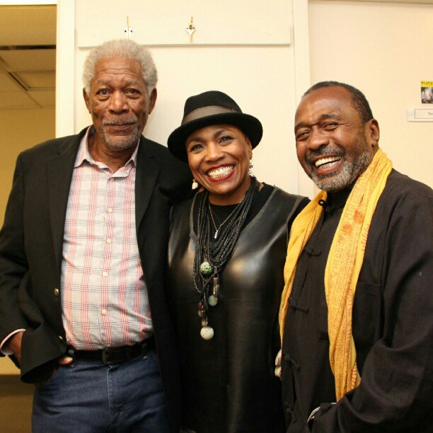 My wonderful mom backstage www.ladydaythemusical.com with the incredible #morganfreeman and #benvereen. If they went to see the show… You know you should! (I can't believe I wasn't there) #ladyday #billieholiday #deedeebridgewater