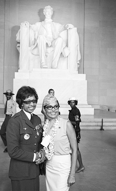 lascasartoris :            Josephine Baker, in her  French Free   Air Force uniform,  and Lena Horne in front of the Lincoln Memorial at the March on Washington for Jobs and Freedom, 28 Aug 1963.     Josephine Baker was the only woman to address the crowds that day.