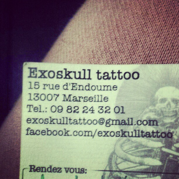Need to get some new ink? #wheretohang in #marseille Exoskull tattoo. Nice folks. Great artists. Honest prices. #quality